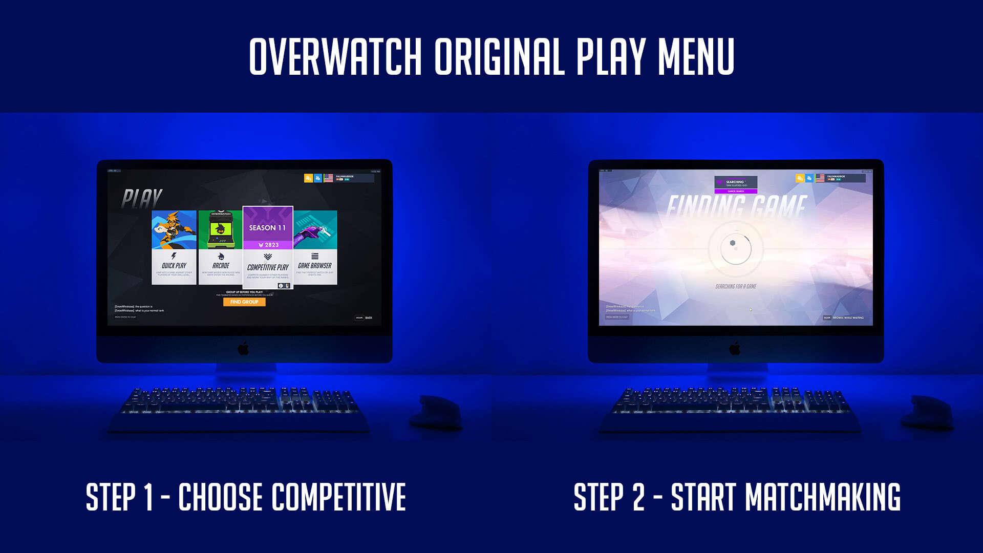 Overwatch Original Play Menu UI Steps To Start Multiplayer Matchmaking